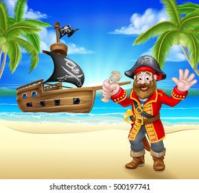 A cartoon pirate on a beach holding a treasure map with his ship in the background