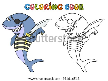 Cartoon Pirate Shark Coloring Book Vector Stock Vector Royalty Free