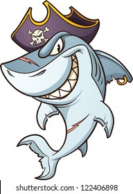 Cartoon pirate shark. Vector clip art illustration with simple gradients. All in a single layer.