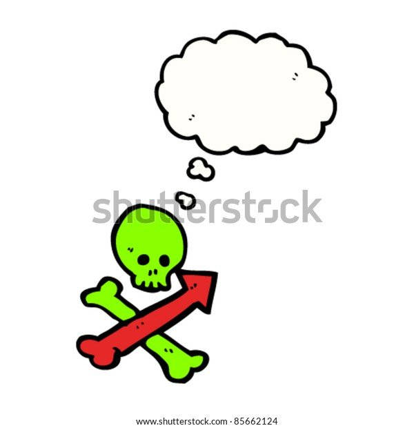 cartoon pirate skull and crossbones sign pointing direction