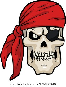 Cartoon pirate skull on a white background vector illustration