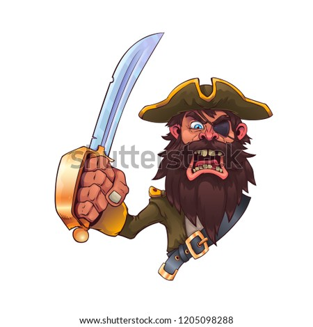 Cartoon Pirate With A SwordVector Illustration Eps 10