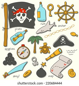 Cartoon pirate vector set.