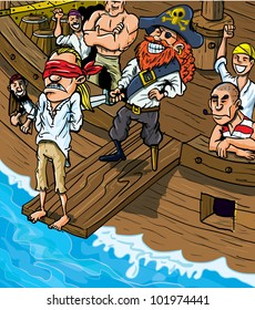 Cartoon pirate walking the plank of a boat