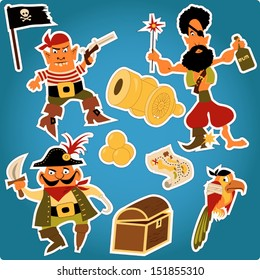 Cartoon pirates stickers. Set of funny cartoon pirates characters, with cannon, map, parrot and a flag, outlines for easy cutting.