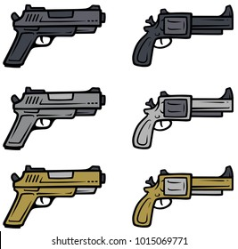 Cartoon pistols, handguns and revolver isolated on white background. Vector weapons firearms icons.
