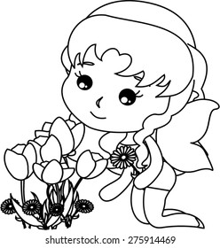 Cartoon pixie and the flowers.coloring version
