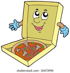 Cartoon pizza box - vector illustration.