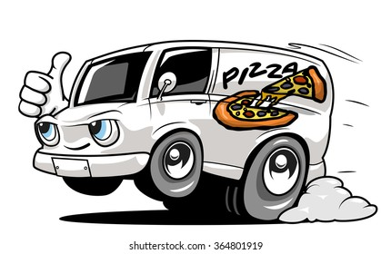Cartoon pizza delivery car giving a thumb up. Vector illustration