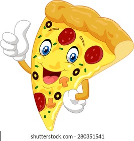 Cartoon pizza giving thumb up