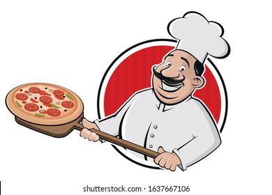 cartoon pizza logo of a serving chef