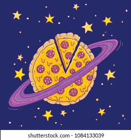 A cartoon pizza planet! Vector illustration.