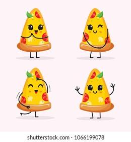 Cartoon Pizza Slice Character