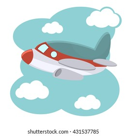 Cartoon plane in blue sky vector illustration. Illustration of cartoon plane in blue sky. Fly air transportation cartoon plane and aviation drawing toy wing cute aeroplane. Baby shower cartoon plane.
