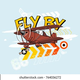 Cartoon Plane Illustration. Print ready for boys T-shirts.