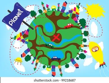 Cartoon planet