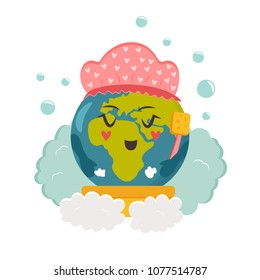 Cartoon Planet taking shower. Environmental protection concept. Earth image for Earth day, eco blogs, leaflets