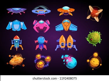 Cartoon planets and spaceships. Fantastic rockets, ufo and alient futuristic planets. Space war game vector kit. Ufo rocket and spaceship, transportation travel universe illustration