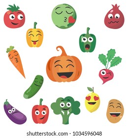 Cartoon plant symbols. Vegetable emoticons. Different emotions in vegetables. Every vegetable has a different emotion. A set of smileys. Smiles. Tomato, pumpkin, pepper, etc. Vector illustration.