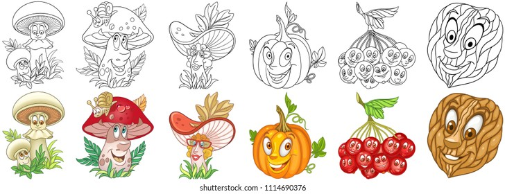 Cartoon Plants Collection. Mushrooms. Pumpkin. Rowan berries. Almond nut. Coloring pages and colorful designs for coloring book, t-shirt print, icon, logo, label, patch, sticker.