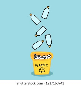 Cartoon plastic bottles. Zero Waste concept. Recycling illustration. Yellow trash bin.
