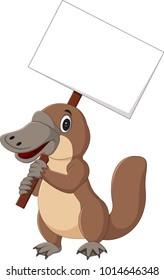 Cartoon platypus holding blank sign