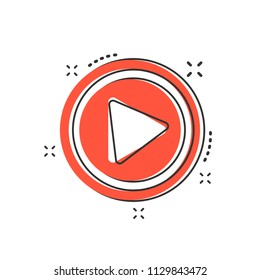Cartoon play button icon in comic style. Play illustration pictogram. Click sign splash business concept.