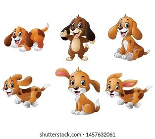 Cartoon playful puppy collections set