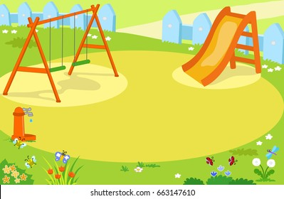 Cartoon playground with cute insects vector background illustration.