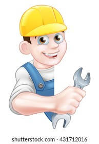 A cartoon Plumber character in a yellow hardhat holding a spanner
