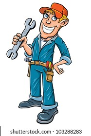 Cartoon plumber holding a wrench. Isolated on white