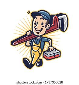 Cartoon Plumber Man Mascot Logo