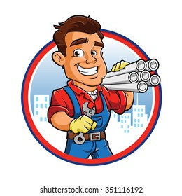 Cartoon plumber worker
