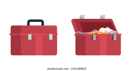 Cartoon plumbers opened and closed tools box set. Flat toolbox for pliers, wrenches and other instruments help to repair leaking in pipe isolated on white background. Vector illustration