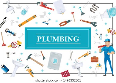 Cartoon plumbing elements concept with plumber holding pipe wrench washing machine boiler toilet toolbox sink faucet water filter plunger hammer level pliers vector illustration