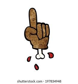 cartoon pointing severed hand