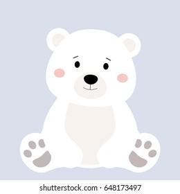 Cartoon polar animal, cute white bear on blue backgrounds. Flat design. Vector Illustration.