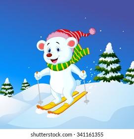 Cartoon polar bear skiing down a mountain slope
