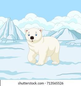 Cartoon polar bear in snowfield