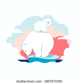 Cartoon polar bears, global warming, vector illustration.
