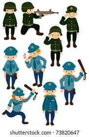 cartoon police and army  icon