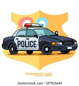 Cartoon Police Car isolated on white