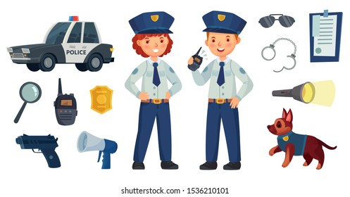 Cartoon police kids. Little boy and girl in patrol suits, police car and dog. Gun, radio and police badge, child character play security or policeman job. Vector isolated illustration icons set