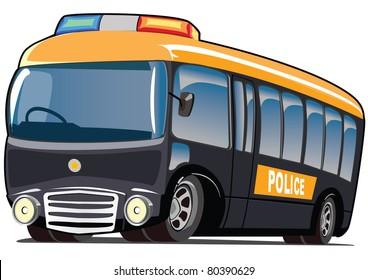 cartoon police mini bus