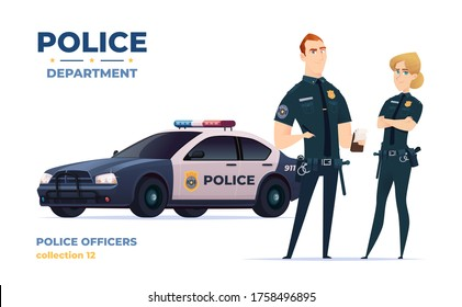 Cartoon police officers man and woman team. Public safety officers with police car. Guardians of law and order.