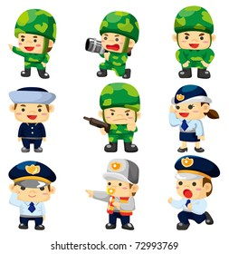cartoon police and soldier  icon