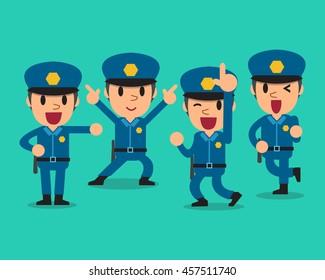 Cartoon policeman character poses set