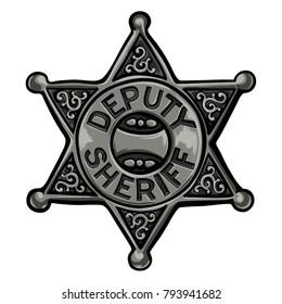 Cartoon policeman emblem vector illustration. Old sheriff badge.