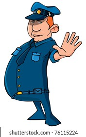 Cartoon policeman holding up his hand. Isolated on white