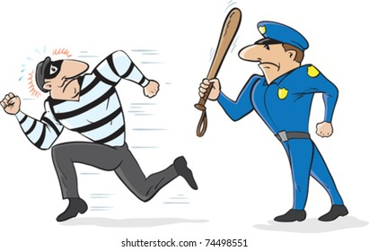Cartoon of a policeman scaring away a burglar